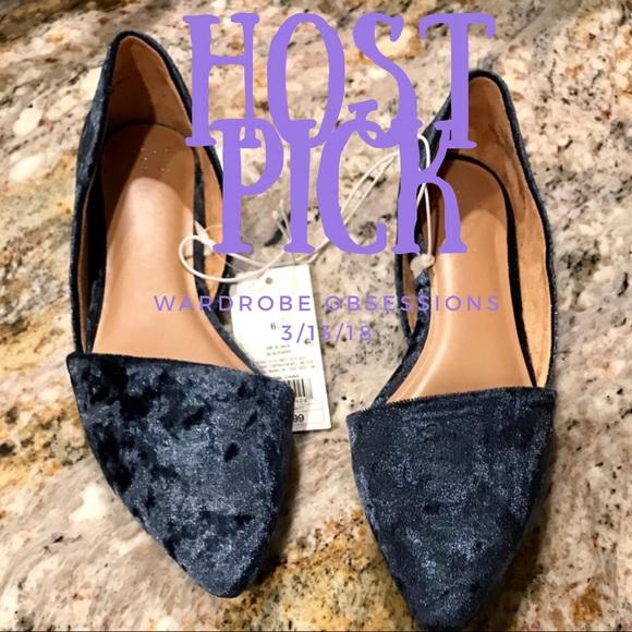 078e61759735 A new day D orsay poppy blue velvet flats 6.5